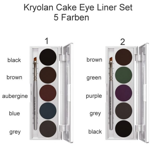 Cake Eye Liner Kryolan Set 5 Colors Palette 1 and 2